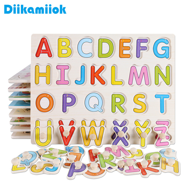 Kids Early Educational Toys Wooden Puzzle Alphabet And Number Learning