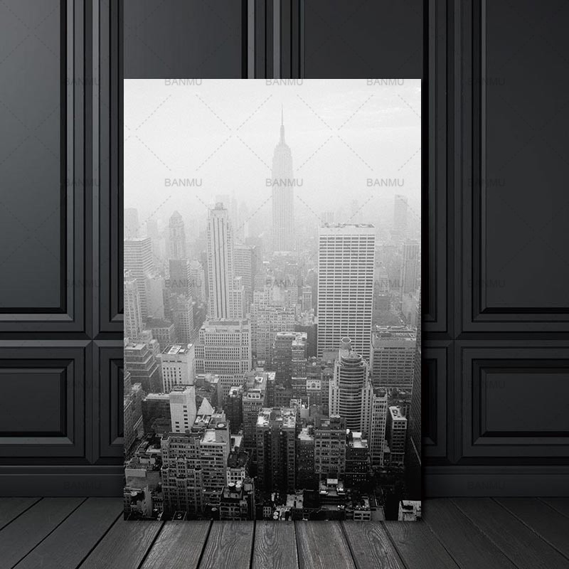 Wall Picture City Building Nordic Abstract for Living Room Art Decoration Pictures Scandinavian Canvas Painting Prints No Frame