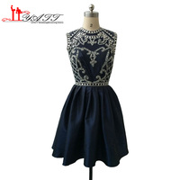 2016 Real Picture 8th Grade Homecoming Dresses Luxury Crystal Navy Blue Backelss Sexy Cheap Juniors Semi dresses
