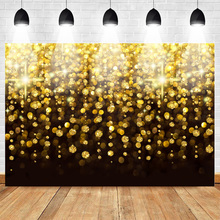 Neoback Backdrop of Birthday Celebration Party Banner Photo Background Gold Sequin Backdrops for Girls Photo Studio birthday background birthday celebration banner photography backdrop photo studio backdrops for baby photos150x210cm thin vinyl
