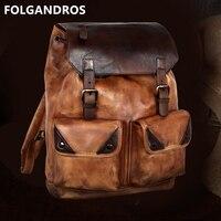 2018 известный дизайнер рюкзак из натуральной кожи ручной работы винтажный рюкзак мужской итальянский импортный яловой Большой Двойной плеч