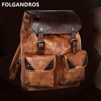 2018 Famous Designer Backpack Genuine Leather Handmade Vintage Backpack Men Italian Imported Cowhide Large Double Shoulder Bag