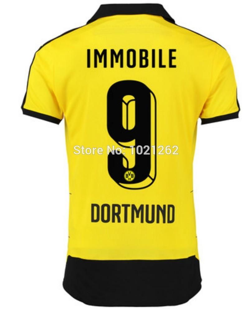 2015 2016 borussia dortmund yellow soccer jersey uniform 9 immobile