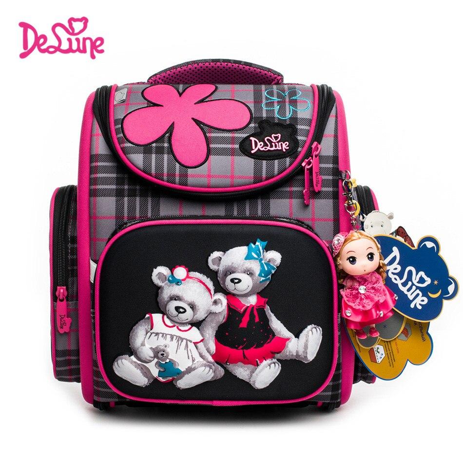 2018 New Style Delune Brand Children 3D Orthopedic backpacks Grade 1-3 Students Cartoon Ergonomic Design Kids Girls School Bags