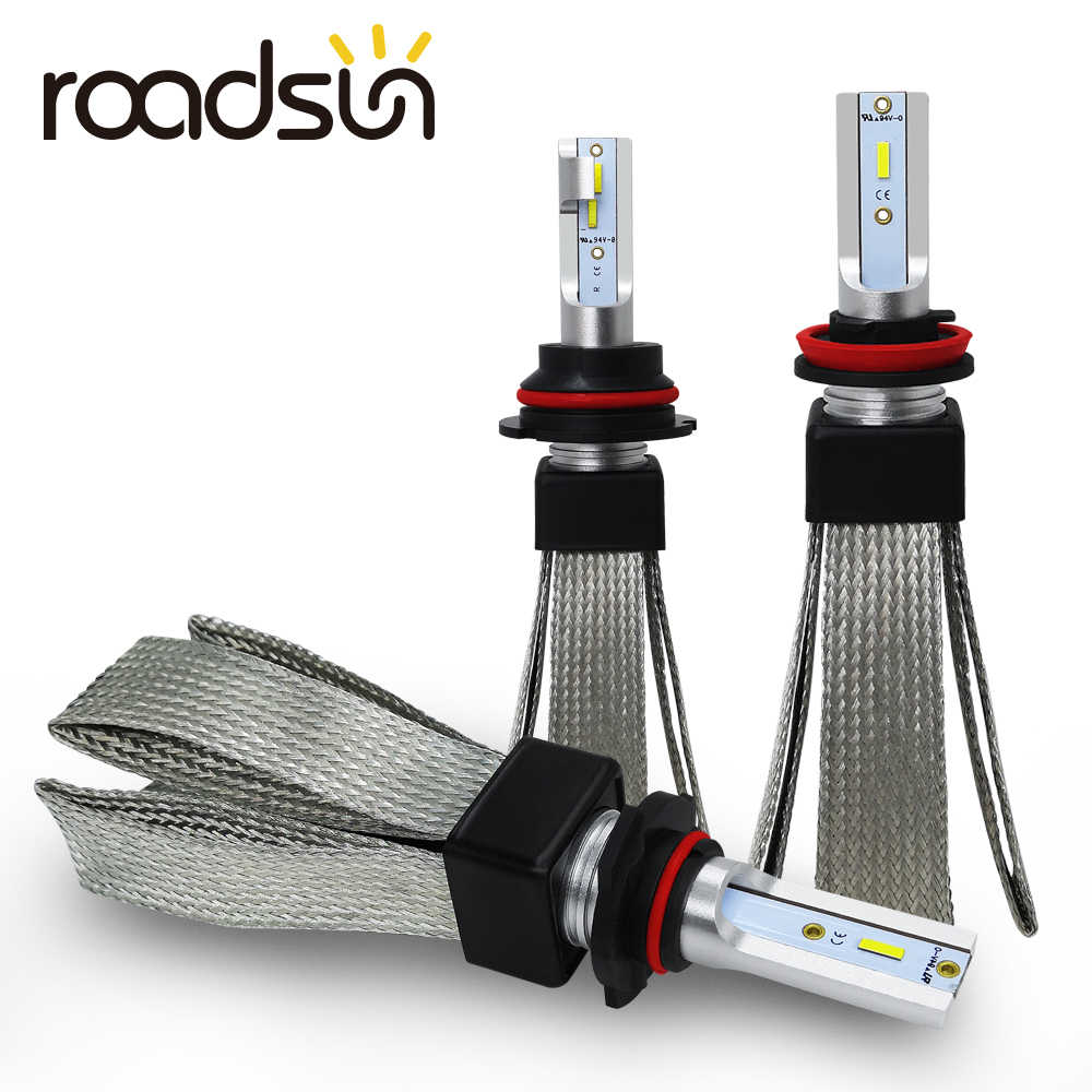 roadsun Car Lights LED H4 H7 H11 H1 H3 880 9005 9006 9007 H27 HB3 HB4 LED Headlight Bulb Auto Lamp CSP Chip Automotivo 12V 6000K
