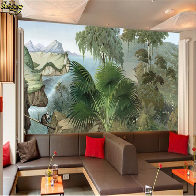Beibehang custom wallpaper mural wall sticker european style hand painted rainforest canyon basho monkey mural background