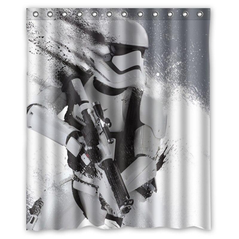 15 76 30 De Reduction Star Wars Stormtrooper Personnalise Designer Tissu Rideau Salle De Bain Produit Impermeable Rideaux De Douche In Rideaux De