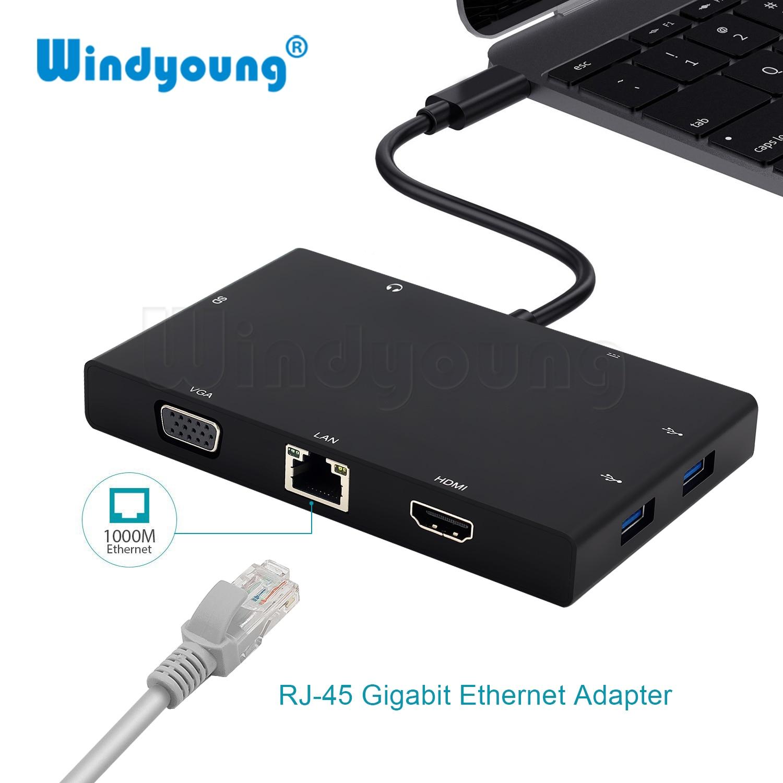 USB C Hub pour Macbook Pro USB-C à HDMI Ethernet Lan VGA Adaptateur Lecteur de Carte 3.5mm Jack Audio Type C hub avec Port de Charge