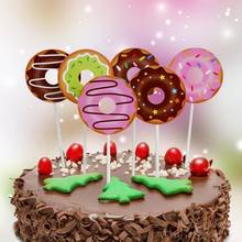 6pcs Lot Lovely Donuts Cake Topper Wedding Birthday Party Baby Shower Dessert Baking Decorating