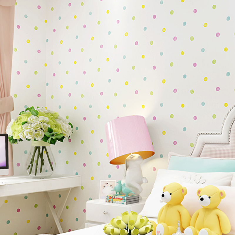 Environmental Lovely Polka Dot Wallpapers Roll Kids Room Decoration Wall Paper Non-woven papel de parede para quarto LY057 snow background wall papel de parede restaurant clubs ktv bar wall paper roll new design texture special style house decoration