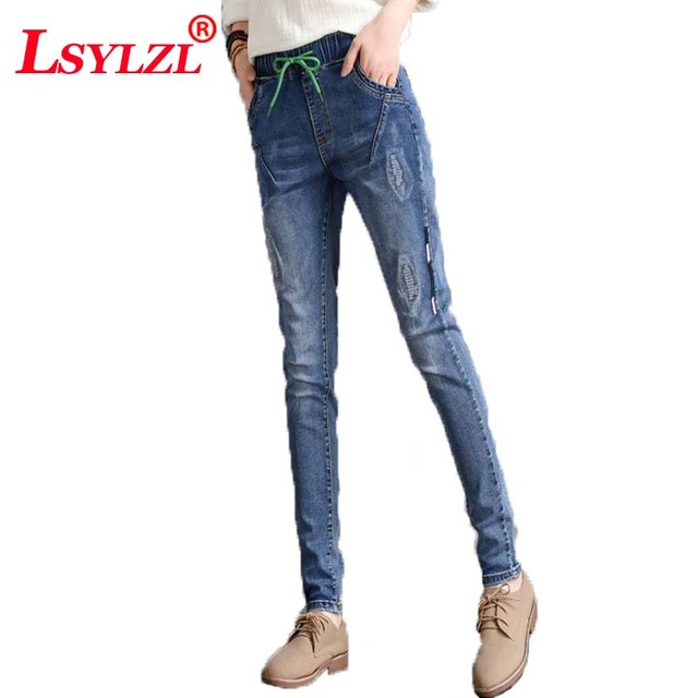 53a2cb21f73 New Plus Size Ultra Stretchy Acid Washed Jeans Woman Denim Pants Trousers  For Women loose Jeans D160