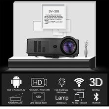 2018 HOT Sv-328 Projector Business Home Wireless With Screen Led Projector 10800p High Definition Android version UK-Black