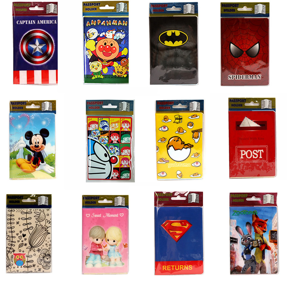 22 Styles 2016 Fashion Cartoon Superman Mickey Passport Holder PVC Leather Travel Passport Cover Case Card ID Holders 14*9.6cm love and clouds two kinds of styles passport cover passport holder luggage tag silicone strap three pieces