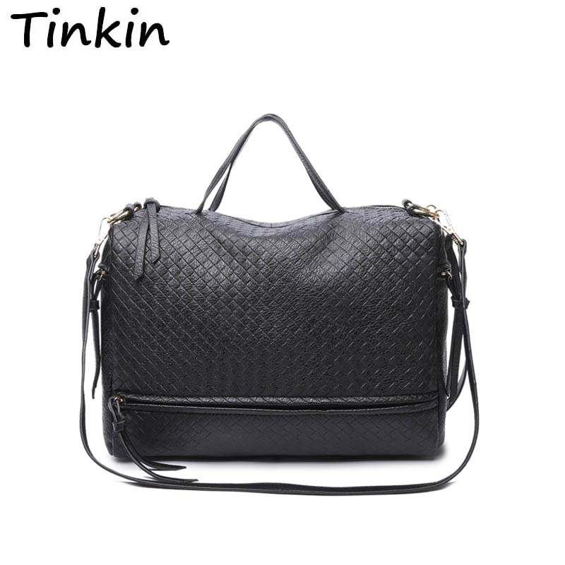 Tinkin Weave Women Messenger Bags Retro Women Bag High Capacity Women Leather Handbag Large Shoulder Bag Bigger Than A4