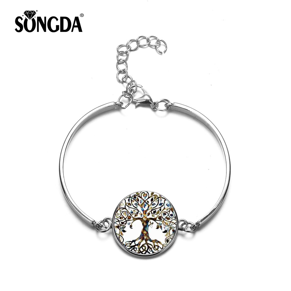 SONGDA Tree Of Life Bracelets & Bangles Fashion Silver Color Glass Cabochon Chain Bracelet Bangle for Women Gift Cuff Bracelet