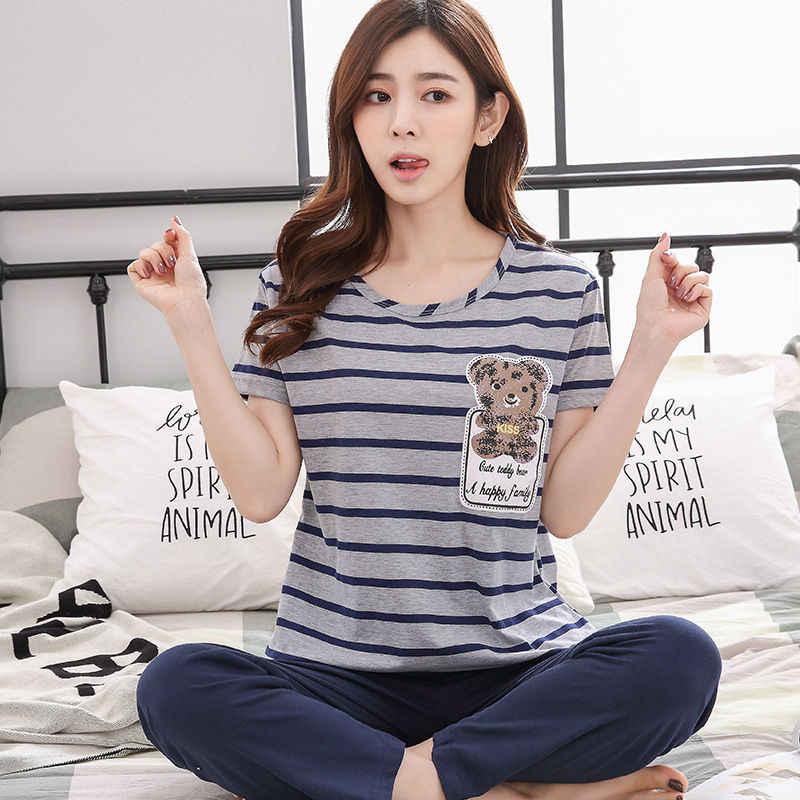 Women s Pajama Set 100% Knit Cotton Thick Two-piece Suits 2018 Autumn Female  Sleepwear 69f24cddb