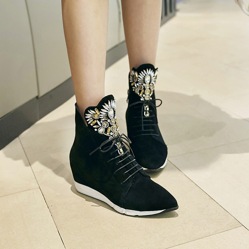 Women's Wedge Pointed Toe Lace-up Leisure High Top Ankle Boots Brand Designer Real Suede Leather Rhinestones Short Booties Shoes designer luxury designer shoes women round toe high brand booties lace up platform ankle boots high quality espadrilles boot