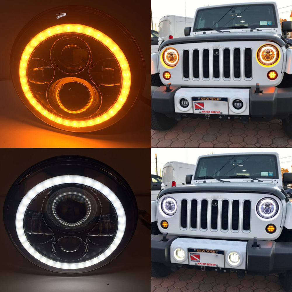 for Jeep Hummer 7 LED Headlight H4 H13 High Low Beam Projector Headlamp DRL White Angel Eyes & Yellow Turn Signla Light MBG039 7inch round 105w led projector headlight h4 drl high low beam yellow halo angel eyes for harley 07 15 wrangler