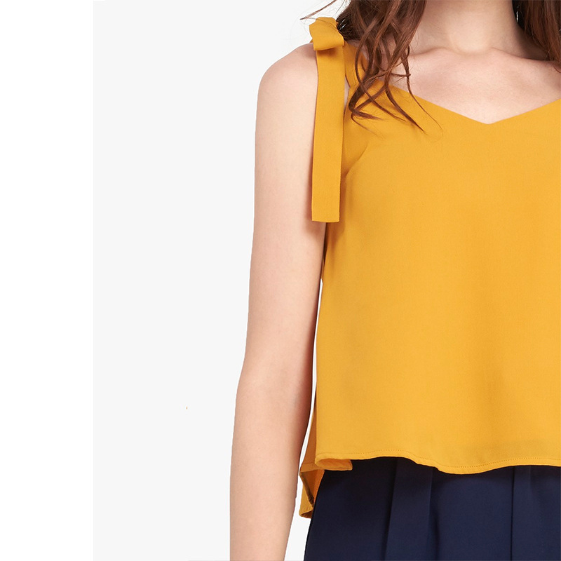 Crop Top Women Summer Camis 2019 New Fashion Casual Chiffon Shirt Yellow Simple Bow Sleeveless Slim Short haut femme Camis in Camis from Women 39 s Clothing