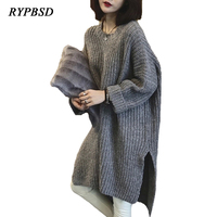 Autumn New Oversized Long Sweater Dress Women Hem Irregular Split Solid Color Knitted Sweater Pullover Casual