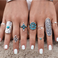 9PCS Vintage Bohemian Beach Turquoise Women Ring Set Ethnic Style Antique Silver Plated Midi Finger Boho Rings Set Charm Anelli