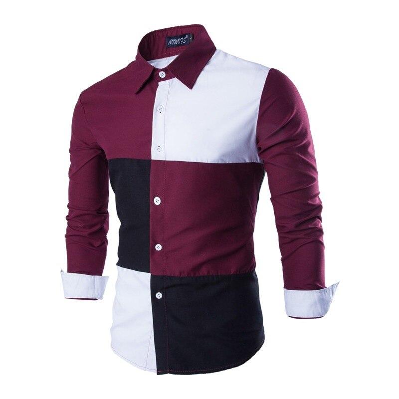 497f52d4edf50 mens 2017 moda manga otoño larga Primavera de para camisa verificación  caliente nueva modelo algodón hombres ...