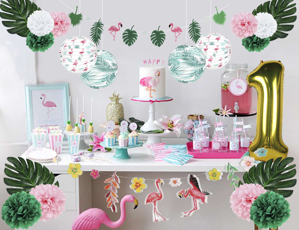 Summer Flamingo 1st Birthday Party Decoration Set Tropical
