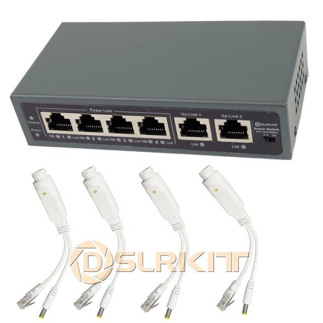 DSLRKIT 6 Ports 4 PoE Kit (Switch + PoE Splitter) 18V 55V to 12V DC Buck converter