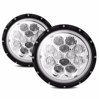 2PCS 7 60W Round Headlight 5D LED Driving Light for Off road Jeep wrangler Trucks Blue with white Halo Ring