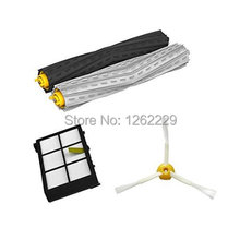 4pcs/lot Tangle-Free Debris Extractor Set & HEPA Filter & Side Brush replacement Kit For iRobot Roomba 800 series 870 880 980