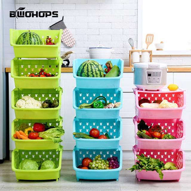 Kitchen Shelves Fruit And Vegetable Floor Type Storage Basket Snacks Kids Toys Box Multilayer Overlay