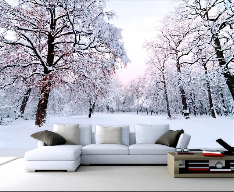 3d Room Wallpaper Mural Custom HD Photo Winter Snow Photo