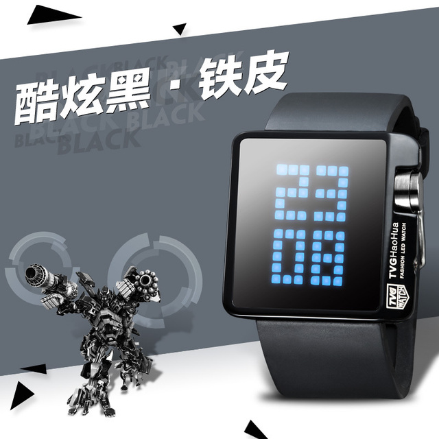 Teenager LED Large Light Screen Digital Watch Rubber Strap Square Screen Dot Matrix Display Outdoor Sports Mirror Casual Concise