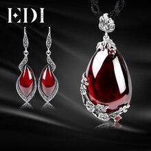 EDI Retro Collar de Granate de Piedras Preciosas Pendientes de Gota Para Las Mujeres 100% Sistemas de la Joyería de Plata de Ley 925