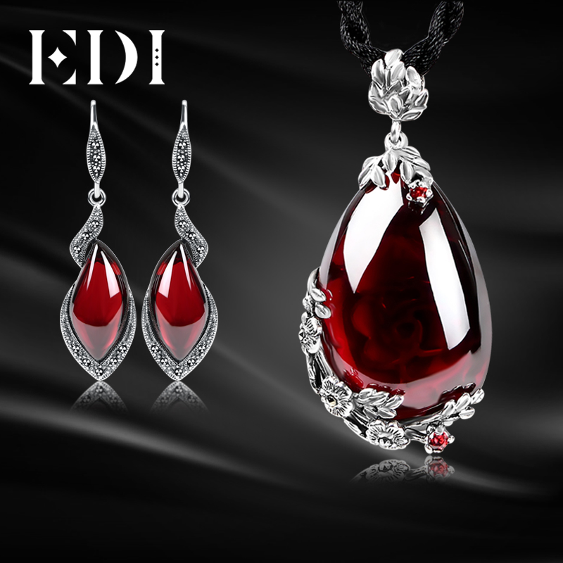 EDI Retro Vintage Garnet Pendant Necklace and Earrings For Women Gemstone Drop Earrings 100% 925 Sterling Silver Jewelry Sets chic rhinestone african plate shape pendant necklace and earrings for women