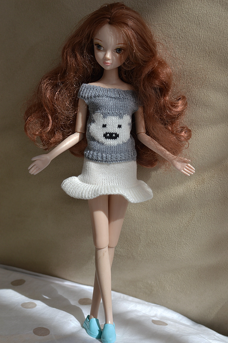 Gray Cute Bear Causal Knitted Sweater Garments For Barbie Dollhouse Skirts High Shorts For 1/6 BJD Doll