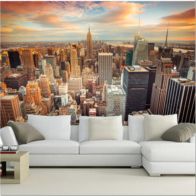 The Custom 3D Murals,USA Skyscrapers New York City Megapolis Clouds Cities  Wallpaper,living