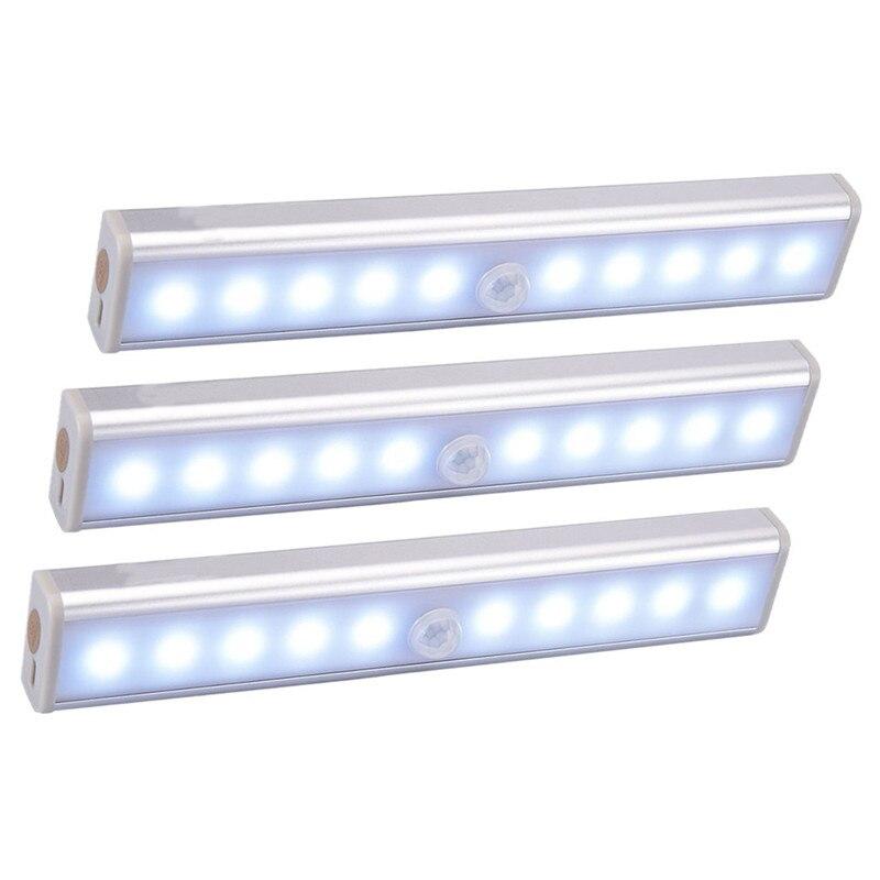אלחוטי LED תחת קבינט אור PIR חיישן תנועת מנורת 6/10 נוריות עבור מלתחת ארון ארון מטבח תאורת Led לילה אור