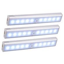 Diodo emissor de luz sem fio sob a luz do armário pir sensor de movimento lâmpada 6/10 leds para armário armário cozinha iluminação led night light