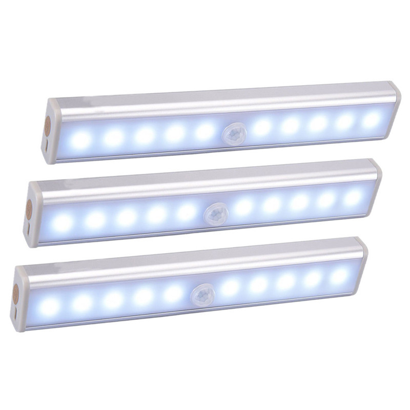 Wireless LED Under Cabinet Light PIR Motion Sensor Lamp 6/10 LEDs For Wardrobe Cupboard Closet Kitchen Lighting Led Night Light