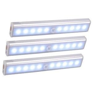 Wireless LED Under Cabinet Light PIR Motion Sensor Lamp 6/10 LEDs for Wardrobe Cupboard Closet Kitchen Lighting Led Night Light(China)