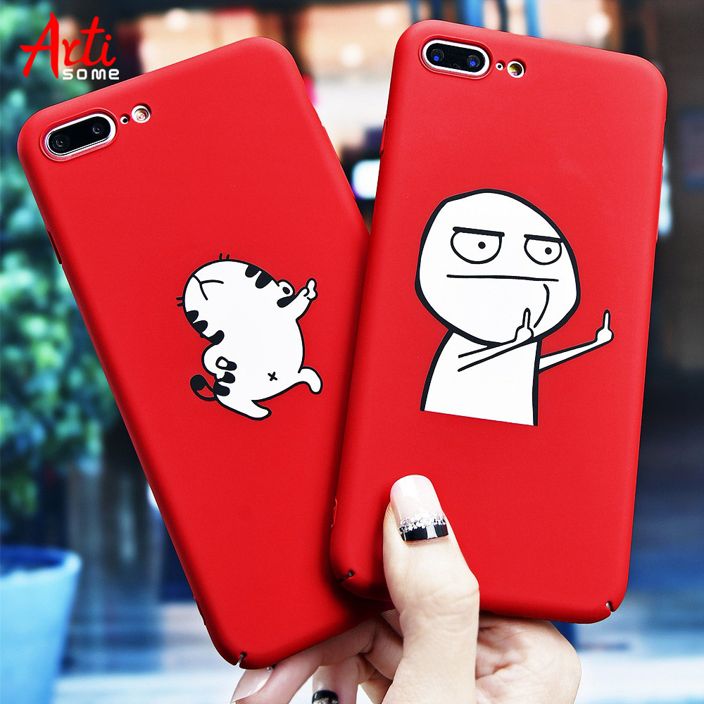 Galleria fotografica Artisome Middle Finger Phone Cases For iphone 8 Case For iPhone 6 6s 7 8 Plus X Case 360 Patterned Hard PC Capa Dancing Cat