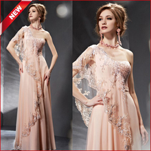 Doragrace Charming Applique Beaded Chiffon Evening Gowns Long Dresses