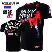 VSZAP Муай Тай бойцовские тайского бокса с коротким рукавом Футболка вещания для фитнеса Тигр wulin ветер MMA Мужчины