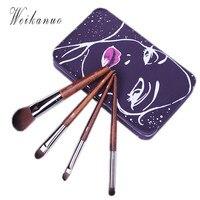 Makeup brush Hot 4Pcs Mini Set cosmetics kit Cosmetics Soft Hair pinceis de maquiagem make up brush Kit with Metal box Kits