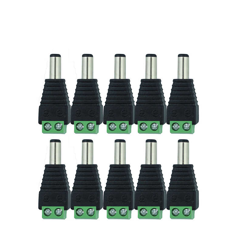 10 Pcs 12V 2.1 x 5.5mm DC Power Male Plug Jack Adapter Connector Plug for CCTV single color LED Light