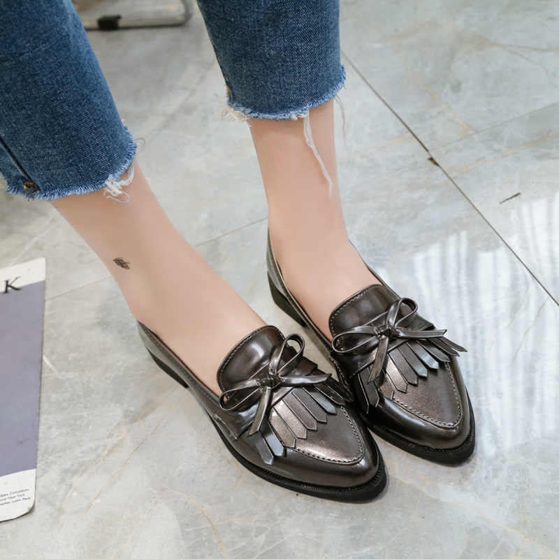 מותג נעלי אישה מזדמן ציצית קשת הבוהן מחודדת שחור אוקספורד נעלי נשים דירות נוח להחליק על נשים נעלי משלוח מתנה