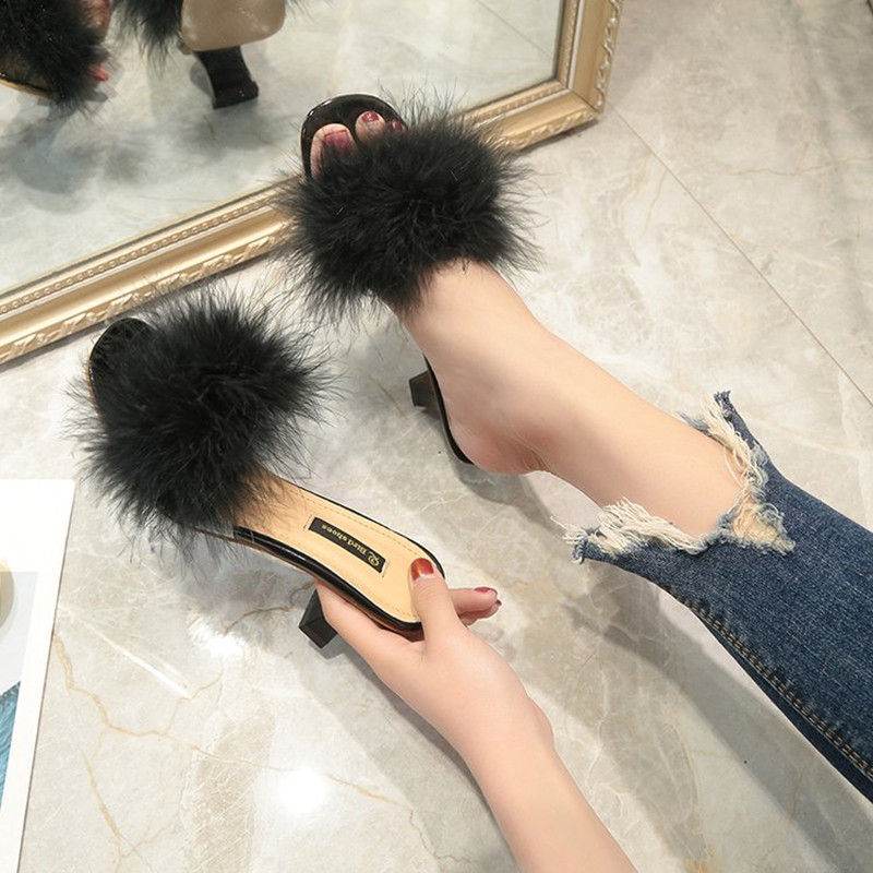 Sandalias Mujer Verano De Nueva Casual Moda pink Talón White Adies 2018 Zapatos Pluma black Wear Verano xqwUfCI