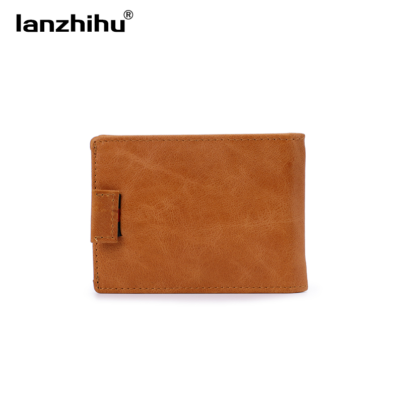 2017 genuínos homens carteira de Estilo : Genuine Leather Rfid Blocking Men Slim Wallet