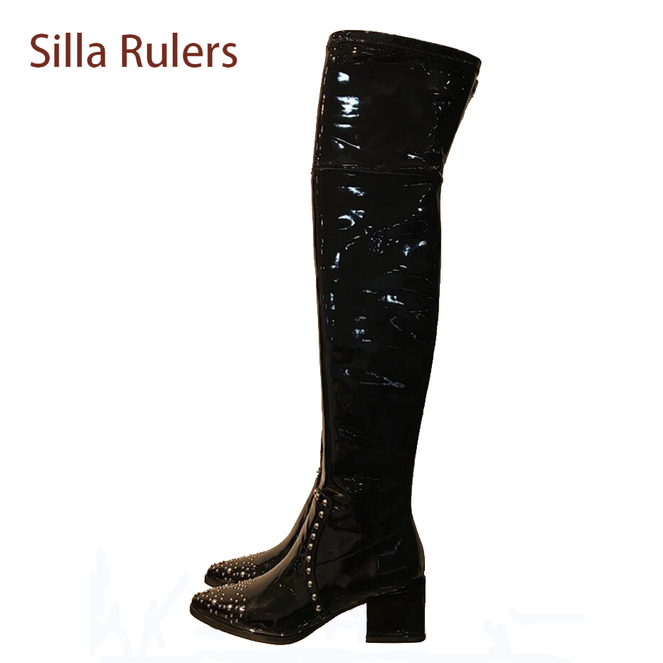 Silla Rulers patent leather thigh high boots women rivet pointed toe chunky heel women knight boots thin leg over the knee boots jialuowei women sexy fashion shoes lace up knee high thin high heel platform thigh high boots pointed stiletto zip leather boots